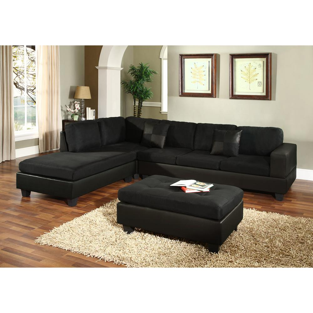 Venetian Worldwide Dallin Black Microfiber Sectional MFS0005 L   The Home  Depot