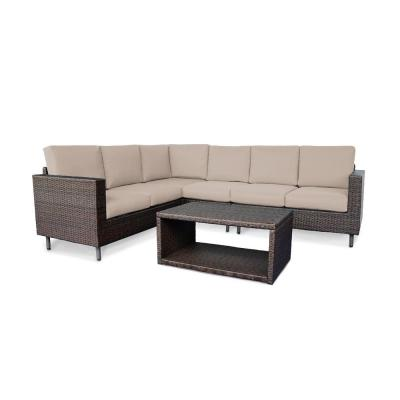 Draper 5-Piece Wicker Outdoor Sectional with Tan Cushions