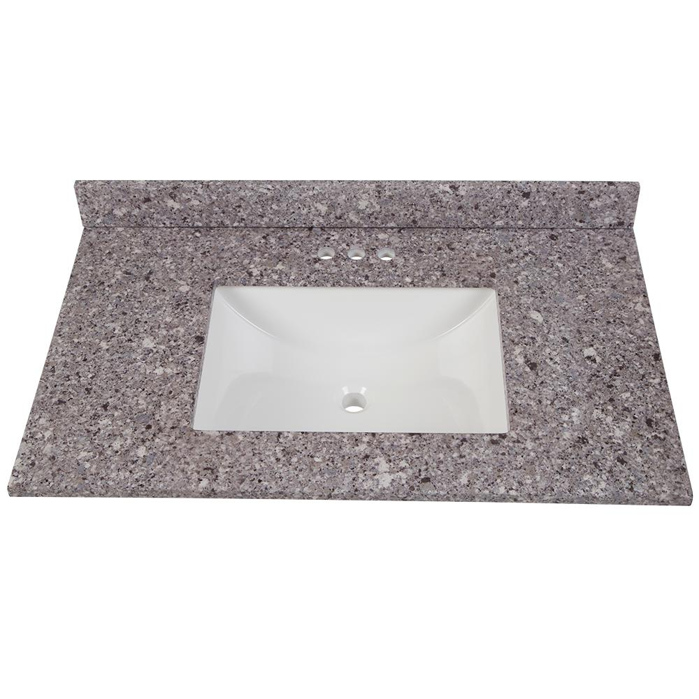Home Decorators Collection 37 in. W x 22 in. D Stone Effects Vanity Top in Mineral Gray with White Sink