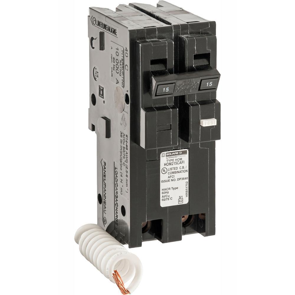 Square D Homeline 15 Amp 2-Pole Combination Arc Fault Circuit Breaker