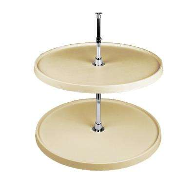 26 in. H x 24 in. W x 24 in. D Almond Polymer 2-Shelf Full Circle Lazy Susan Set