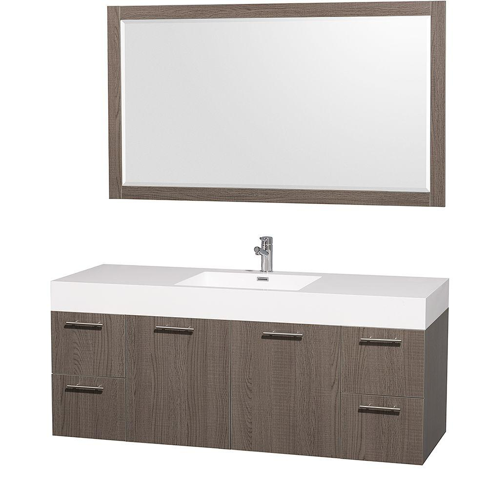 Wyndham Collection Amare 60 in. Vanity in Grey Oak with Acrylic-Resin Vanity Top in White and Integrated Sink