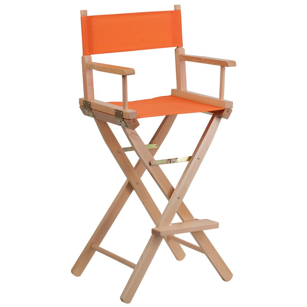 Good Flash Furniture Bar Height Directors Chair In Orange TYD01OR   The Home  Depot