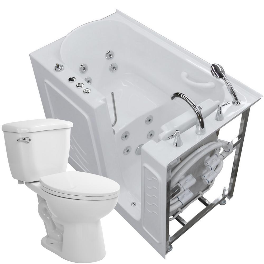 Nova Heated 52.75 in. Walk-In Whirlpool Bathtub in White with 1.28 GPF Single Flush Toilet