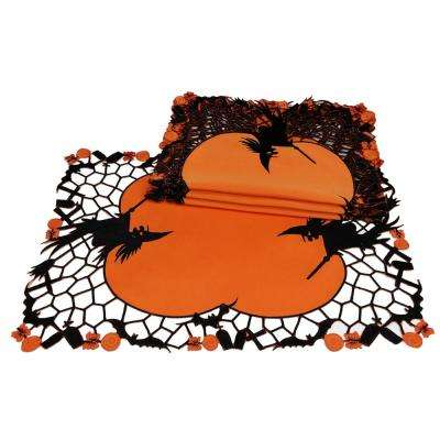 0.1 in. x 14 in. x 20 in. Witch Embroidered Cutwork Halloween Placemats (4-Set)