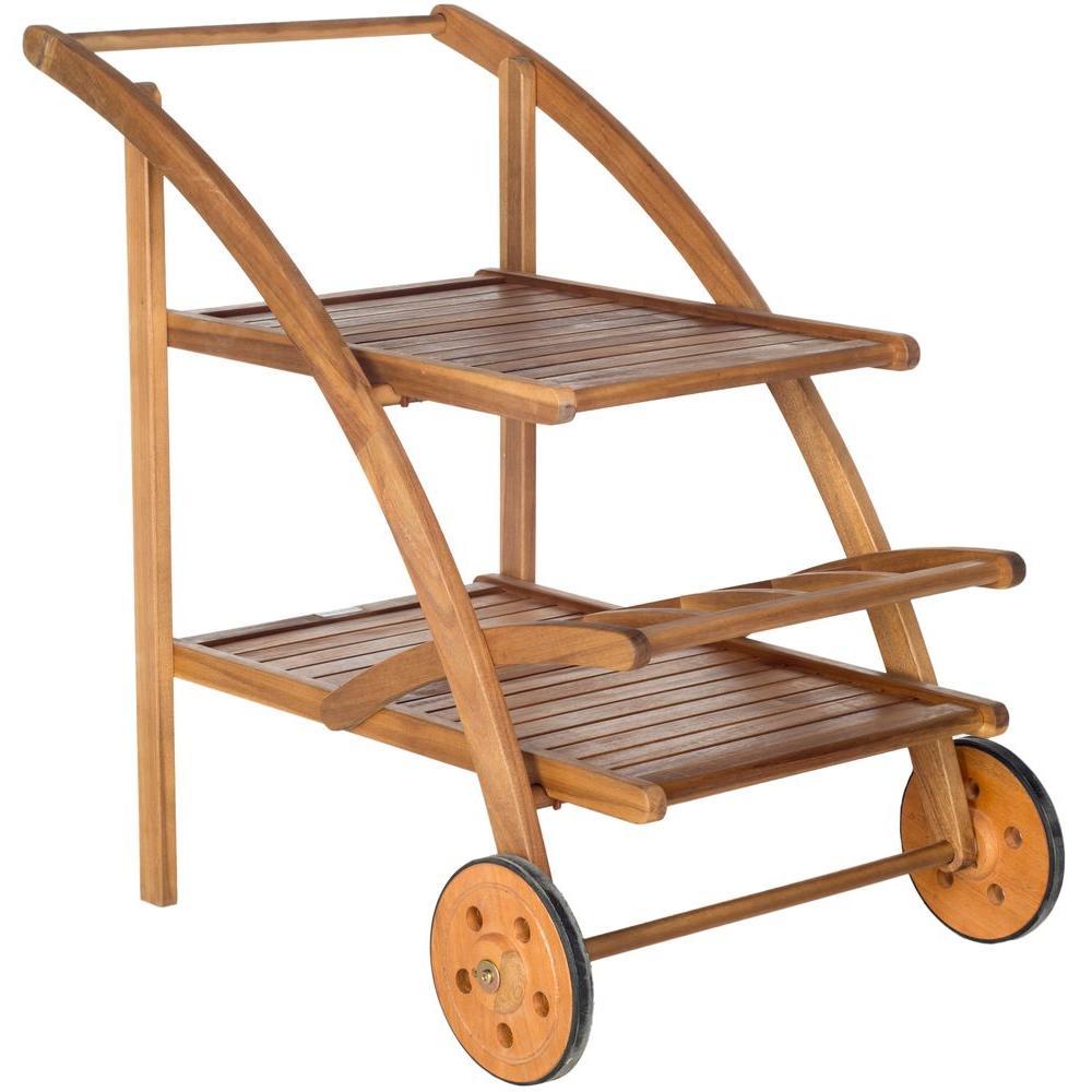 Lodi Natural Brown Acacia Wood Outdoor Bar Cart with Wheels