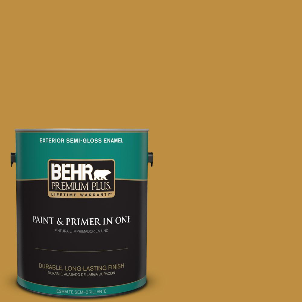 BEHR Premium Plus 1-gal. #340D-6 Fervent Brass Semi-Gloss Enamel Exterior Paint