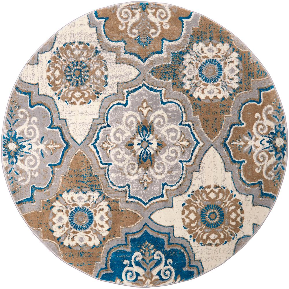 Home Dynamix Tremont Taupeblue 7 Ft 10 In Round Indoor Area Rug