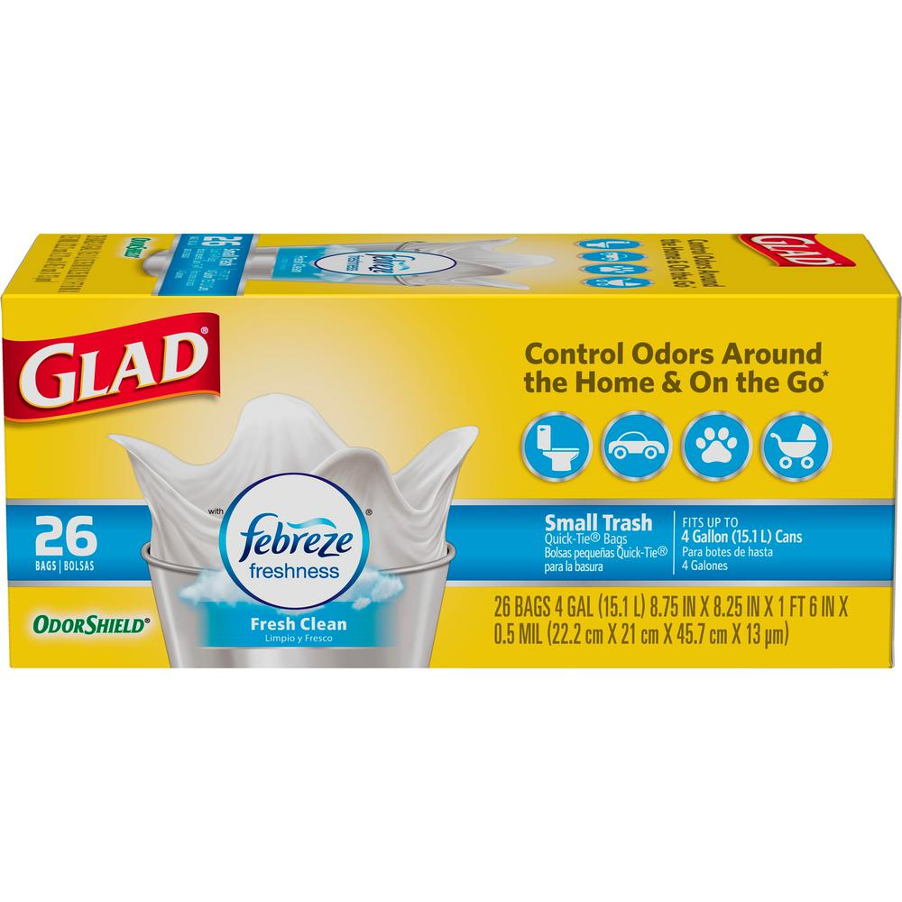 Glad 4 Gal Small Garbage Fresh Clean Odor Shield Bags 26 Count