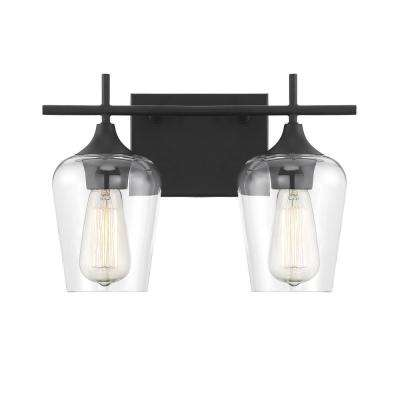 13.75 in. 2-Light Black Vanity Light with Clear Glass