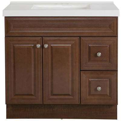 Glensford 37 in. W x 22 in. D Bathroom Vanity in Butterscotch with Cultured Marble Vanity Top in White with White Sink