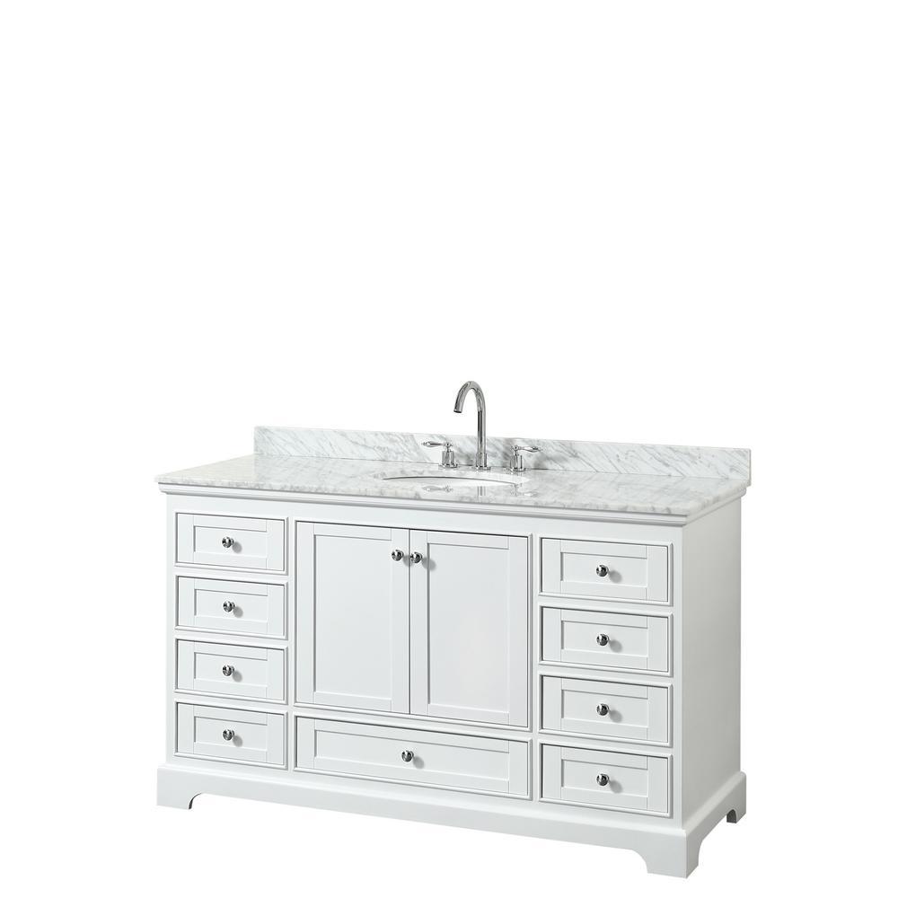 Deborah 60 in. Single Bathroom Vanity in White with Marble Vanity Top in White Carrara with White Basin