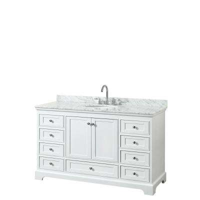 Deborah 60 in. Single Bathroom Vanity in White with Marble Vanity Top in White Carrara with White Basin