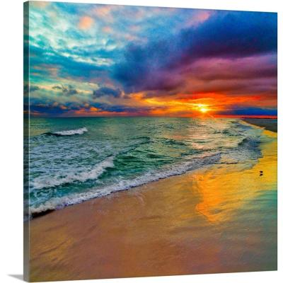 """Colorful Seascape-Swirling Multi Color Sunset"" by Eszra Tanner Canvas Wall Art"