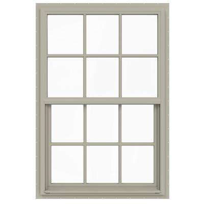 36 in. x 54 in. V-4500 Series Desert Sand Single-Hung Vinyl Window with 6-Lite Colonial Grids/Grilles