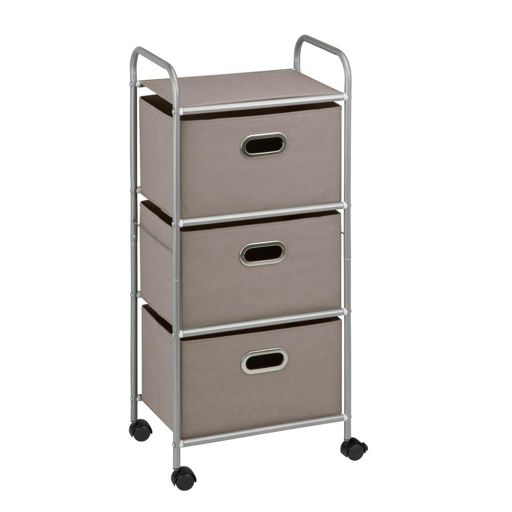 honey can do 3 drawer rolling cart in gray crt 06248 the home depot. Black Bedroom Furniture Sets. Home Design Ideas