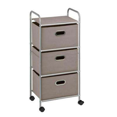 3 Drawer Rolling Cart In Gray