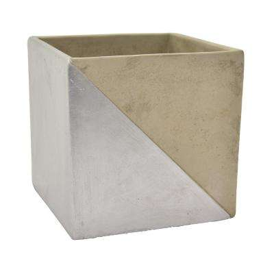 4.75 in. Gray and Silver - Silver Flower Pot