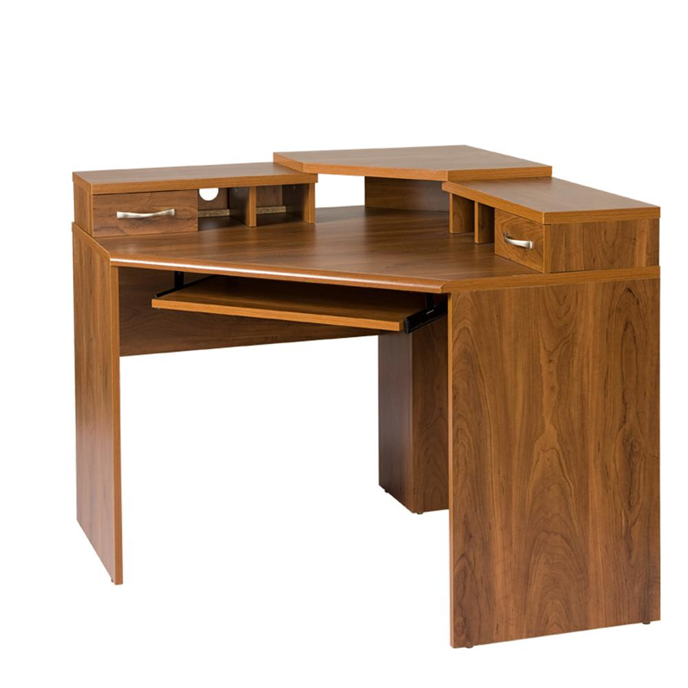 Os Home And Office Furniture Corner Desk With Monitor Platform Keyboard Shelf 2 Drawers 22110 The Depot