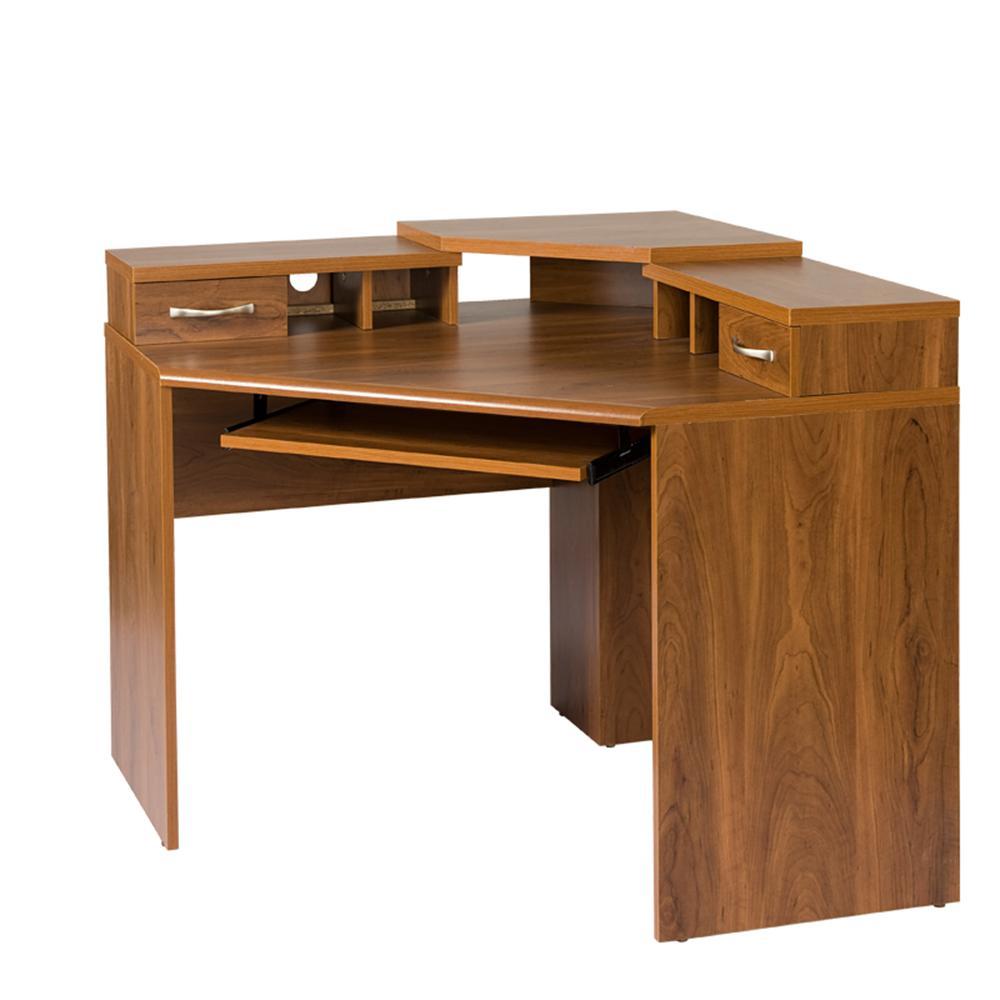 Corner Desk with Monitor Platform, Keyboard Shelf and 2-Drawers by