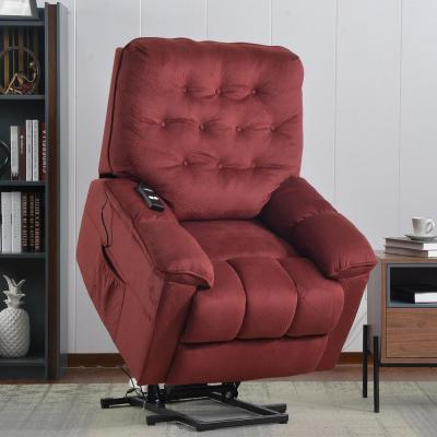 Red Power Lift Recliner Chair with Remote and Soft Fabric