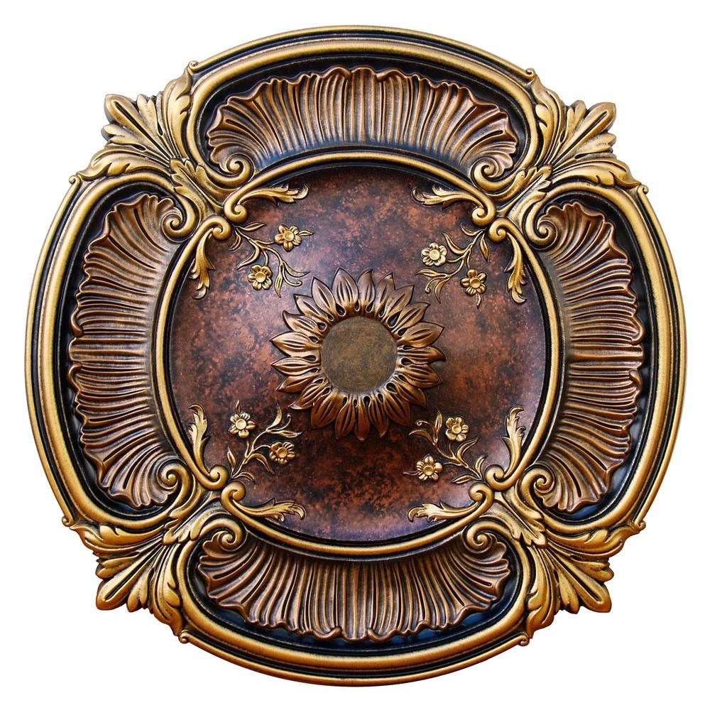 Fine Art Deco 30 in. Spring Dreams, Bronze, Gold and Copper, Polyurethane Hand Painted Ceiling Medallion.