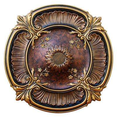 30 in. Spring Dreams, Bronze, Gold and Copper, Polyurethane Hand Painted Ceiling Medallion.