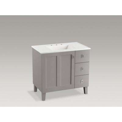 Poplin 36 in. Vanity in Mohair Grey with Vitreous China Vanity Top and Basin in White