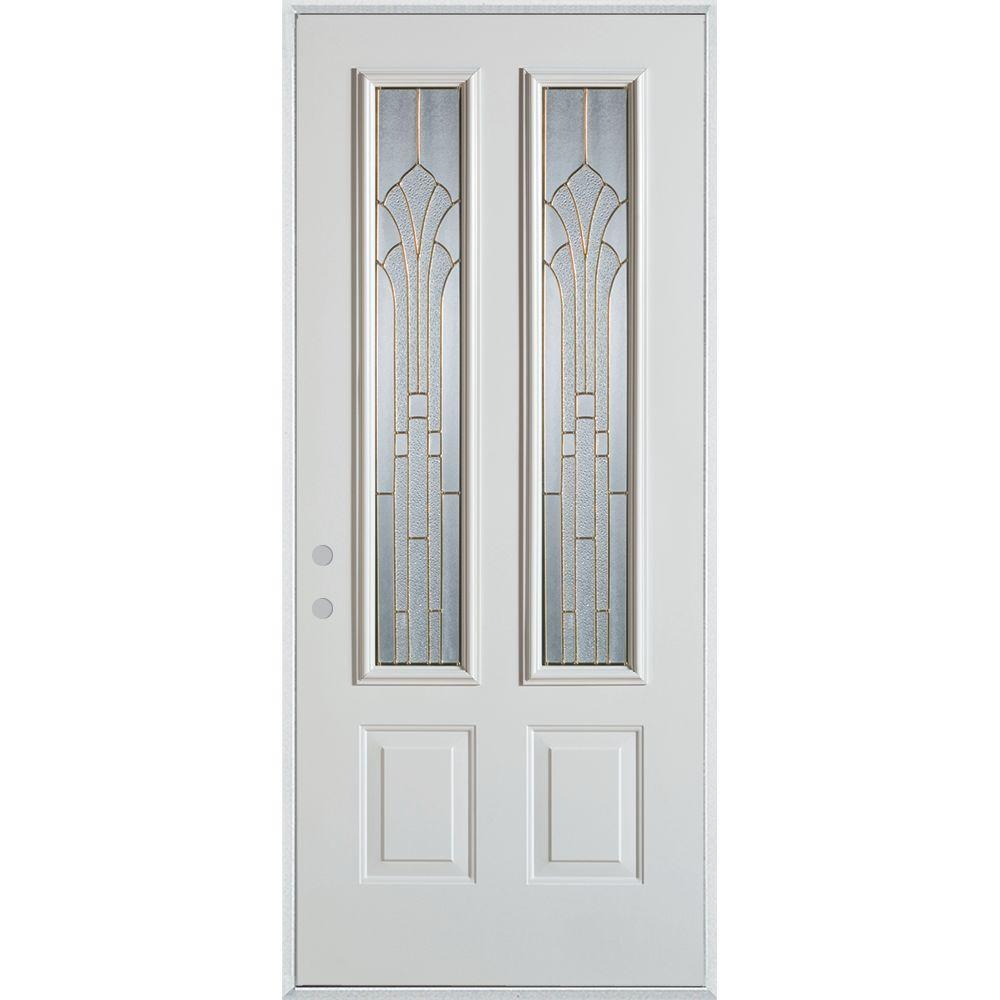 Stanley Doors 37.375 in. x 82.375 in. Art Deco 2 Lite 2-Panel Painted White Steel Prehung Front Door