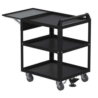 21 in. 360 Degree Swivel Service 0-Drawer Utility Cart with Flip-up Shelf