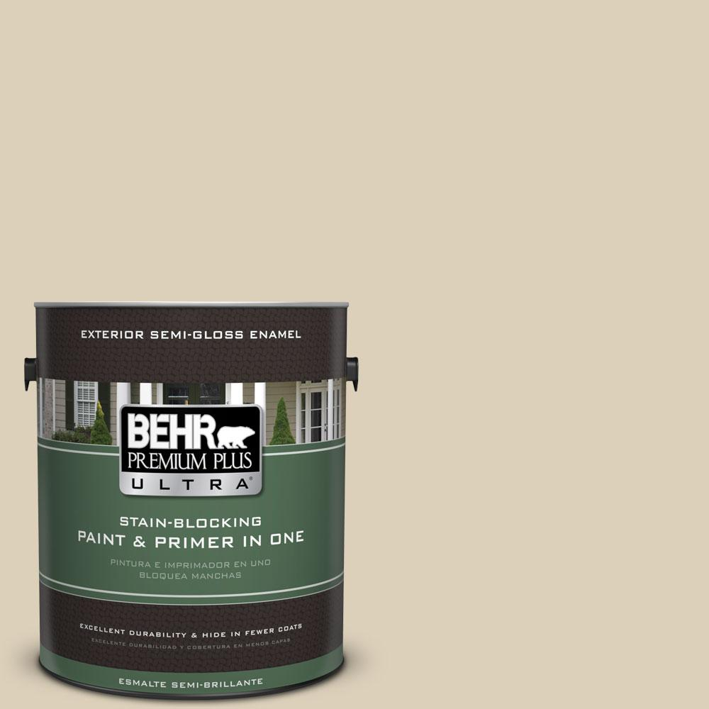 BEHR Premium Plus Ultra 1-gal. #BWC-26 Stucco Tan Semi-Gloss Enamel Exterior Paint