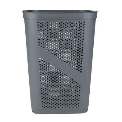 60 Liter Gray Perforated Plastic Dirty Clothes Storage Basket with Lid