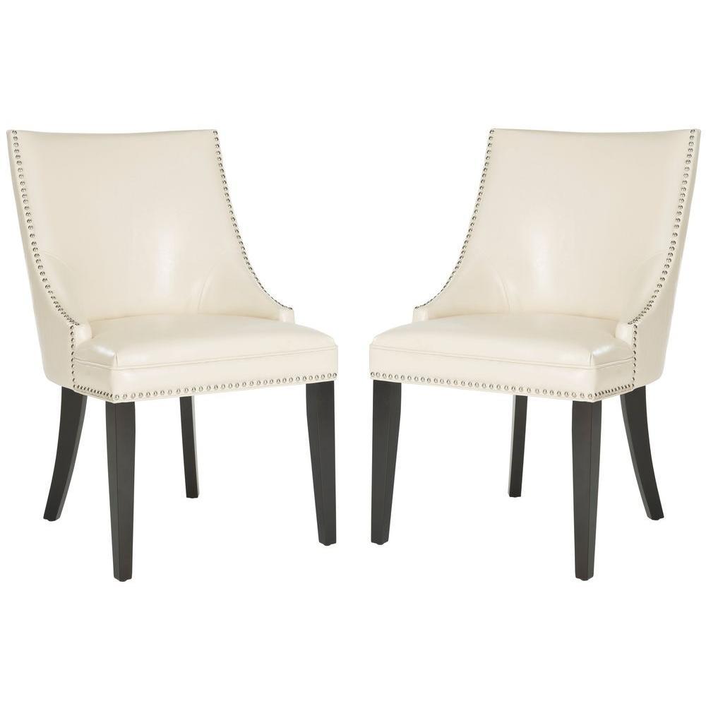 Afton Flat Cream/Espresso Bicast Leather Side Chair (Set of 2)