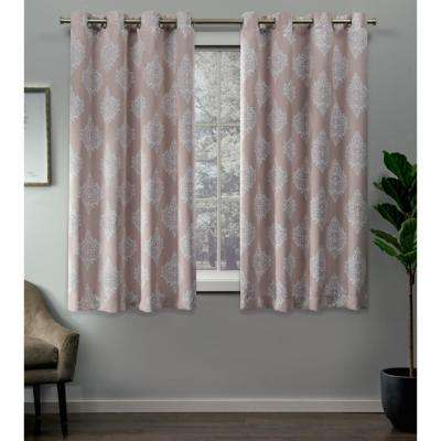 Medallion 52 in. W x 63 in. L Woven Blackout Grommet Top Curtain Panel in Blush (2 Panels)