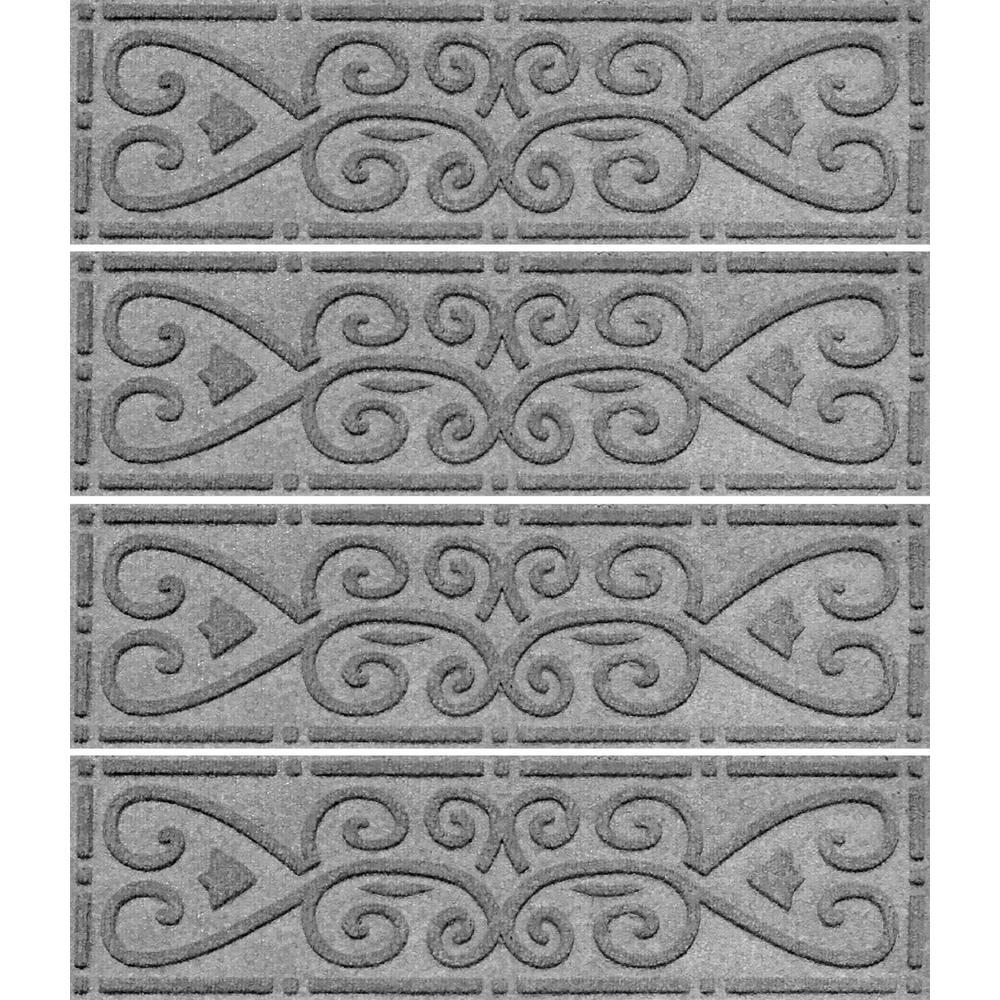 Medium Gray 8.5 in. x 30 in. Scroll Stair Tread (Set of 4)