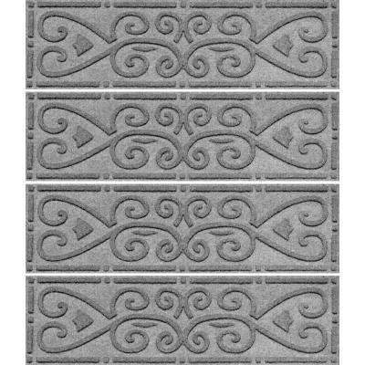 Medium Gray 8.5 in. x 30 in. Scroll Stair Tread Cover (Set of 4)