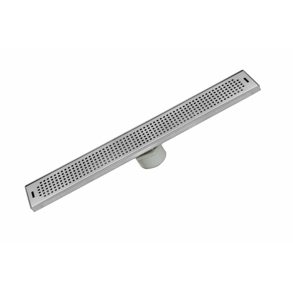 Luxe 48 In Stainless Steel Linear Shower Drain Squares