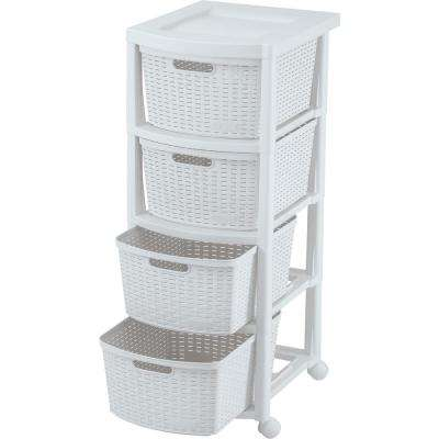 13 in. W 4-Drawers Rolling Utility Cart