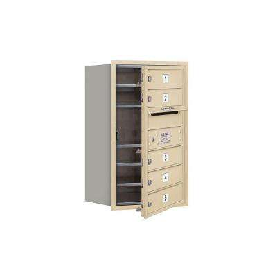 3700 Series 27 in. 7 Door High Unit Sandstone Private Front Loading 4C Horizontal Mailbox with 5 MB1 Doors