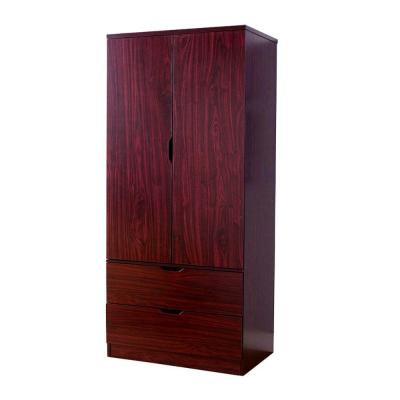Mahogany Brown Spacious 2-Door Wooden Wardrobe with Bottom Drawers