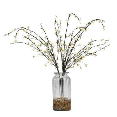 Indoor White Peach Blossom Branches in Glass Vase