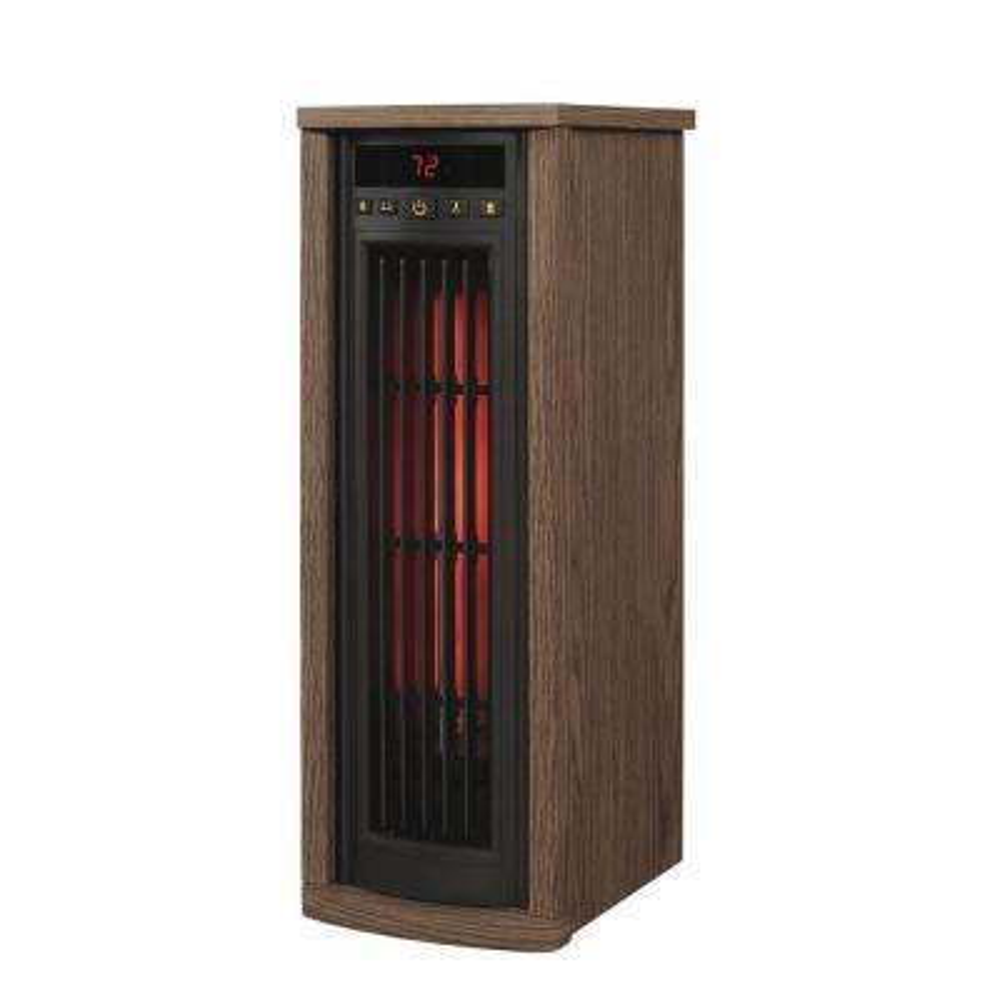 1500-Watt Infrared Quartz Oscillating Electric Portable Tower Heater with Remote Control - Oak