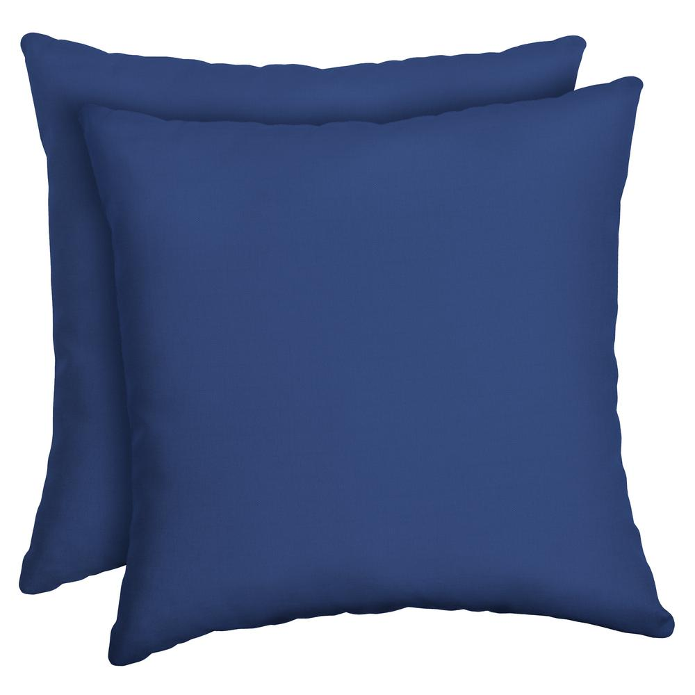 Arden Selections 16 x 16 Lapis Canvas Texture Square Outdoor Throw Pillow (2-Pack)