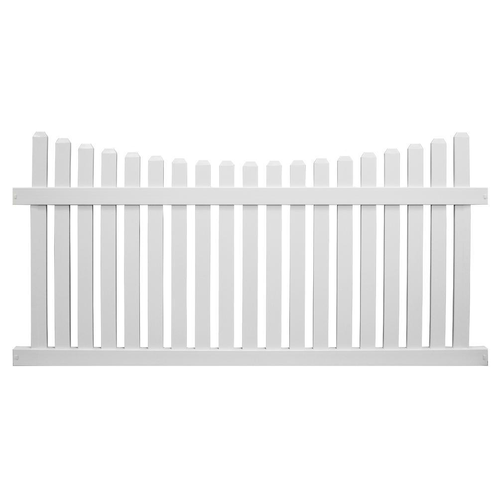 Richmond 4 ft. H x 8 ft. W White Vinyl Picket Fence Panel Kit