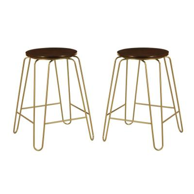 Ethan 24 in. Elm/Gold Stacking Counter Stool (Set of 2)
