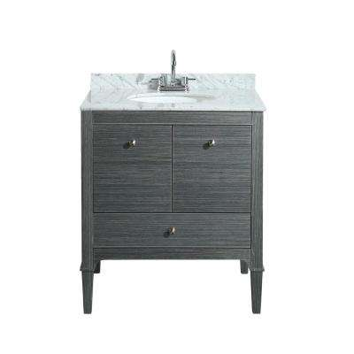 Gia 30 in. Vanity in Gray with Marble Vanity Top in White with White Basin