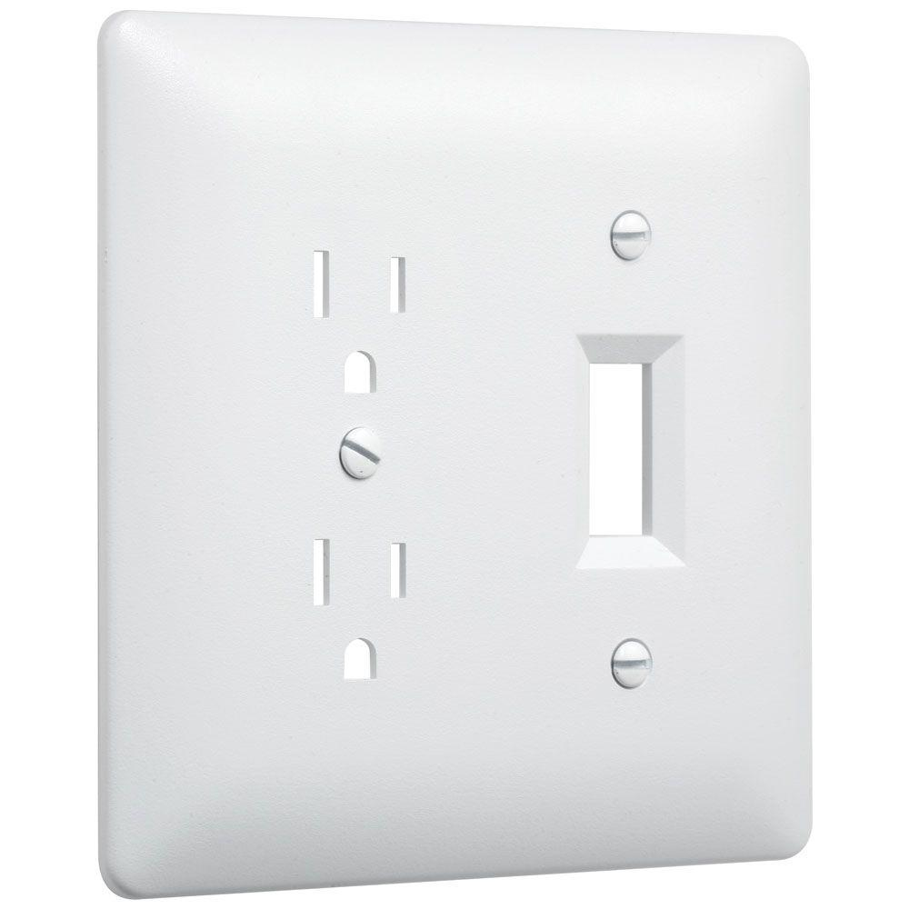 Taymac White 2 Gang 1 Toggle 1 Duplex Wall Plate 10 Pack 2400w The Home Depot