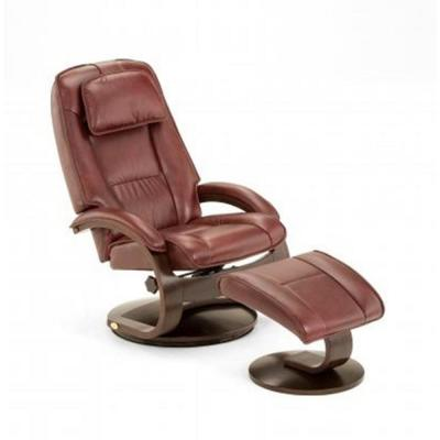 Oslo Collection Merlot Top Grain Leather Swivel Recliner with Ottoman