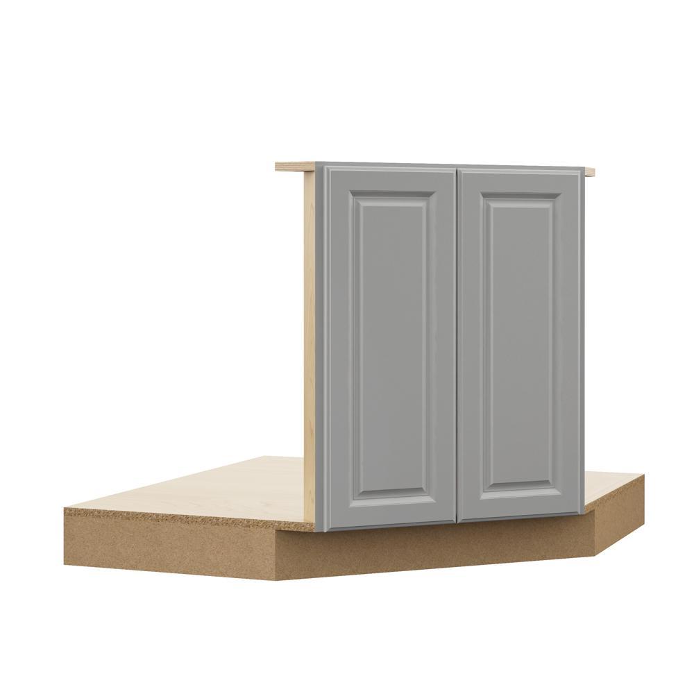 Elgin Assembled 42x34.5x23.75 in. Corner Sink Base Kitchen Cabinet in Heron Gray