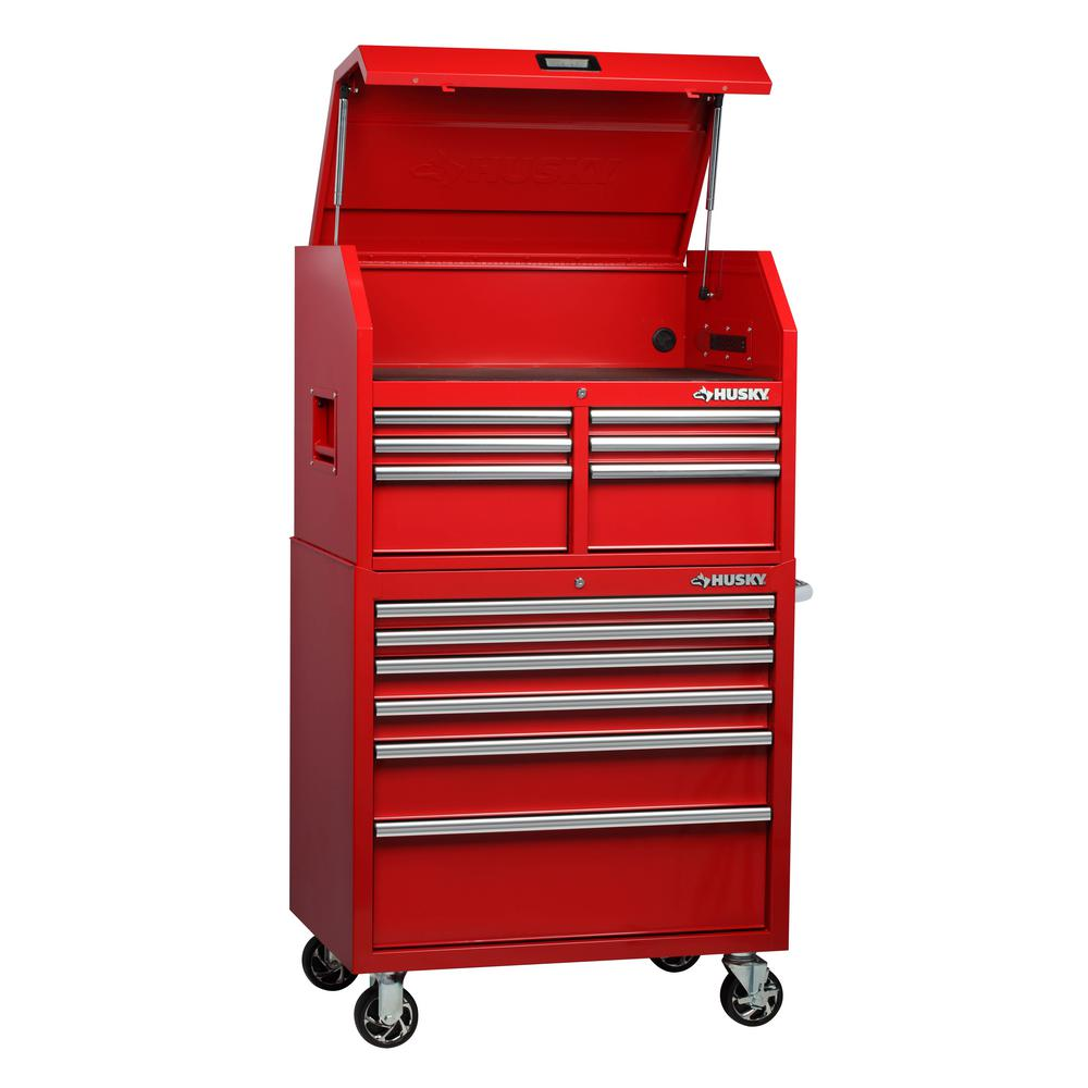 Husky 36 in. W x 24.5 in. D 12-Drawer Tool Chest and Rolling Cabinet Combo in Red